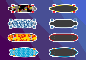 Longboards Skates Illustrations Vector - vector gratuit #360423