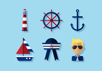 Vector Nautical Icon Set - Free vector #360443