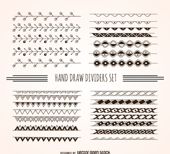 Hand drawn dividers set - vector gratuit #360533