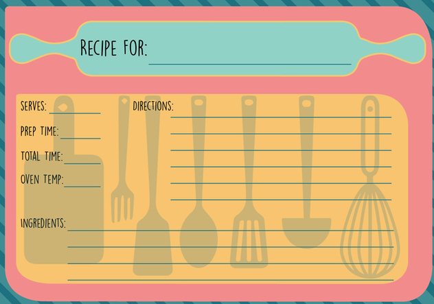 Free Recipe Card Vector - vector gratuit #360633