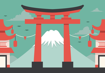 Vector Fuji and Torii - vector gratuit #360663