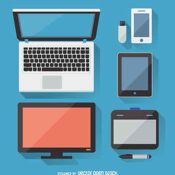 Flat electronic devices with shadows set - vector gratuit #360723