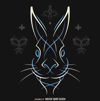 Pinstripe rabbit vector in white and blue - vector gratuit #360733
