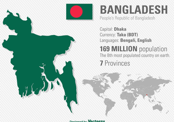 Vector Illustration Of Bangladesh's Location And World Map - Free vector #361053