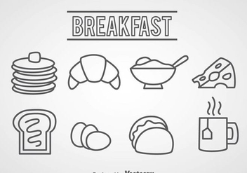 Breakfast Food Outline Icons - vector gratuit #361063