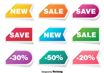 Colorful Discount Labels Vector Set - vector #361113 gratis