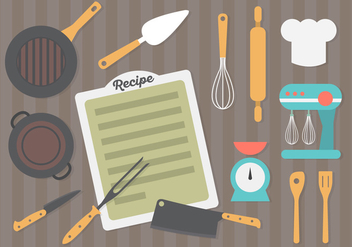 Flat Design Kitchen Equipment Background - vector gratuit #361223