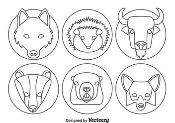 Animal Forest Head Line Icons Vector - vector gratuit #361263