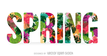 Colorful spring sign with flowers - vector gratuit #361443