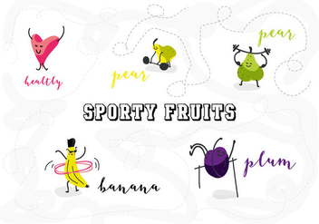 Free Sporty Fruits Character Vector Illustration - Free vector #361983