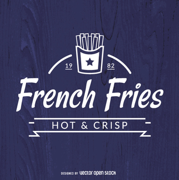 French fries insignia over blue background - vector gratuit #361993