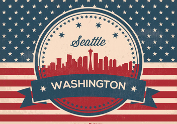 Retro Seattle Washington Skyline Illusrtation - Free vector #362123