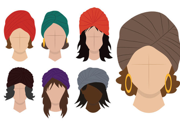 Ladies Turban Vector - vector gratuit #362173