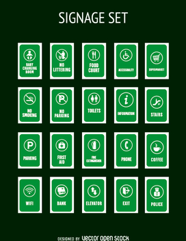 Green service tags collection - vector #362233 gratis