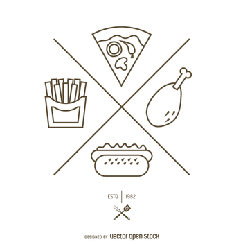 Simple fast food outline logo - vector gratuit #362273