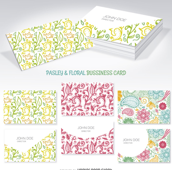 Floral and swirl business card mockups - vector gratuit #362353