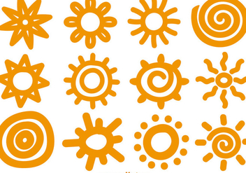 Vector hand-drawn suns - vector gratuit #362533
