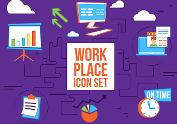 Free Flat Design Vector Work Place Icons - Kostenloses vector #362613