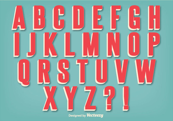Retro Style Alphabet Set - vector gratuit #362763