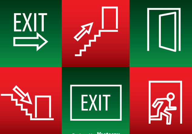 Emergency Exit White Outline Icons - Free vector #362913