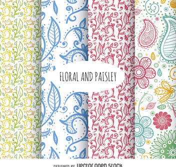 Floral and paisley background set - бесплатный vector #362973