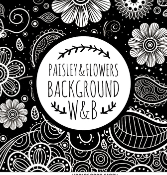 Grayscale floral swirl pattern - Kostenloses vector #363003