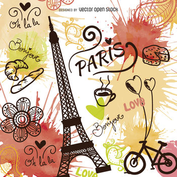 Vintage style hand drawn Paris vector - бесплатный vector #363263