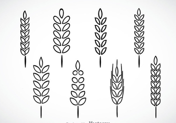 Wheat Stalk Black Outline Icons - vector gratuit #363283