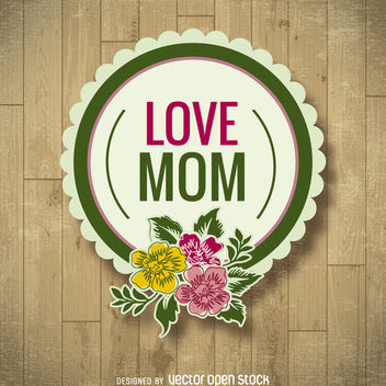 Mother's Day floral badge - vector gratuit #363513