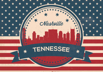 Retro Nashville Skyline Illustration - бесплатный vector #363753