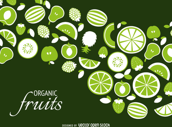 Green organic fruit backdrop - vector gratuit #363773