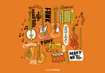 Hand Drawn Musical Instrument Vectors - vector #363983 gratis