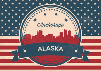 Retro Anchorage Alaska Skyline Illustration - Free vector #364023