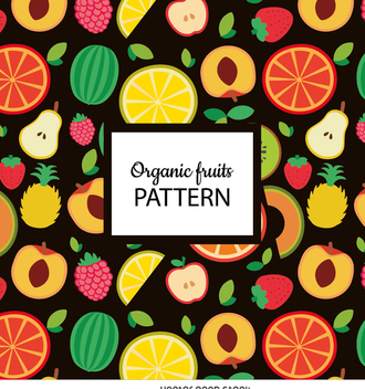 Flat organic fruit seamless pattern - vector gratuit #364223