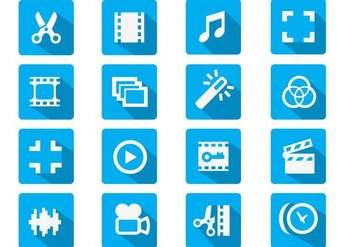 Video Editing Flat Icon - vector gratuit #364293