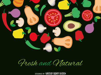 Fresh and natural flat vegetables poster - бесплатный vector #364443