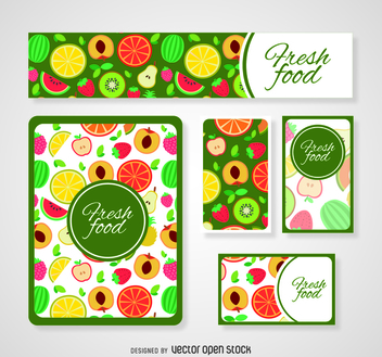 Colorful fresh food card templates - vector #364453 gratis