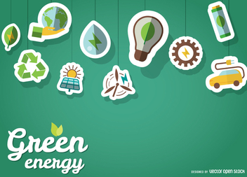 Green energy wallpaper with stickers - Free vector #364483