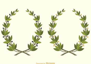 Free Vector Olive Wreath - Free vector #364623
