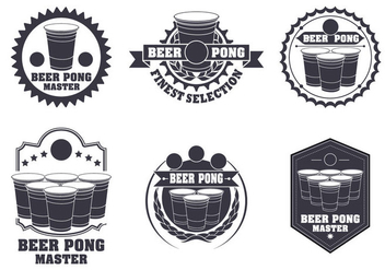 Beer Pong Label Vector Set - бесплатный vector #364673