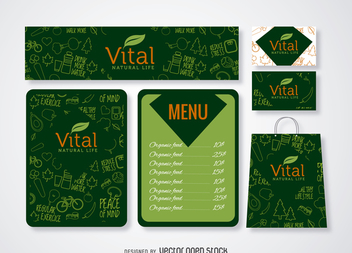 Restaurant menu and branding mockup in green - Free vector #365053