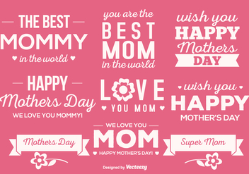 Cute Mother's Day Label Set - Kostenloses vector #365123