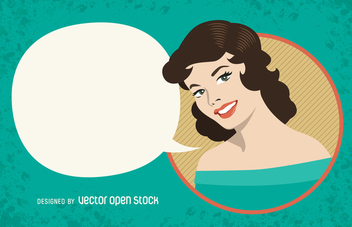 Vintage woman sign with speech bubble - vector gratuit #365173