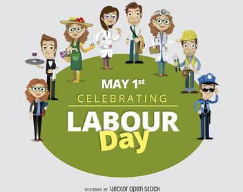 Labour Day May 1st cartoon workers - vector gratuit #365183