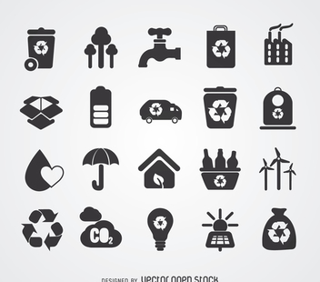 Green energy and recycling badge set - Free vector #365213