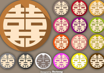 Vector Double Happiness Symbol Buttons - Free vector #365353