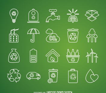 Thin line recycling icon set - vector gratuit #365433