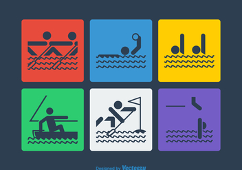 Free Vector Water Sport Pictograms - Free vector #365553