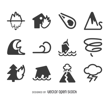 Natural disaster icon set - vector #365563 gratis