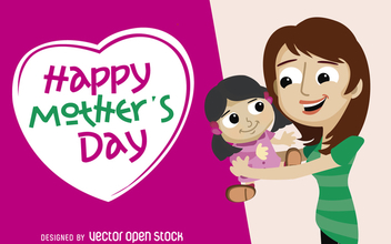 Mother's Day greeting card - vector gratuit #365573